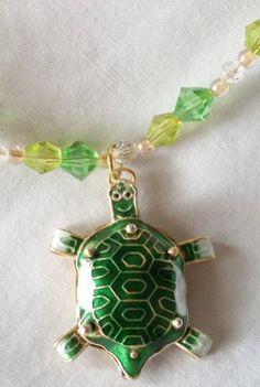 Spring Turtle Glass Bead Necklace | gemsbyjerri - Jewelry on ArtFire