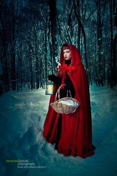 """""""Little Red Riding Hood II by ~Miss-Bo"""" off of Deviant art website...love the way the hem of the cape pools at the ground..."""