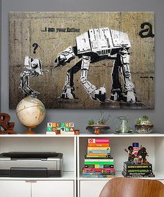 This Banksy 'I Am Your Father' Gallery Wrapped Canvas by Star Wars is perfect! #zulilyfinds