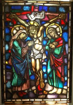 """Stained Glass Window DUTCH - CIRCA 1900 Crucifixion of Jesus """"Mariakapelletje"""" Tilburg View online at : http://www.maartenpeutz.co.za/catalogue/collectables-catalogue.htm"""