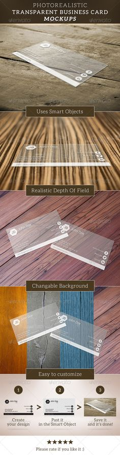 Transparent Business Card Mockup — Photoshop PSD #transparent business card #transparent mockup • Available here → https://graphicriver.net/item/transparent-business-card-mockup/6713987?ref=pxcr