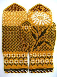 Рукавички с жаккардовым узором Mittens Pattern, Knit Mittens, Mitten Gloves, Knitting Socks, Double Knitting Patterns, Sunflower Pattern, Fair Isle Knitting, Hand Warmers, Knit Crochet