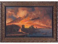 ECOLE NAPOLITAINE XIXème siècle. L'éruption du Vésuve de 1794