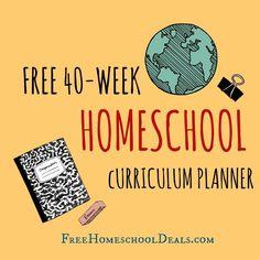 FREE 40 WEEK HOMESCHOOL CURRICULUM PLANNER - instant download!