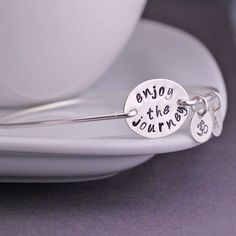 georgiedesigns - Enjoy the Journey Bangle Bracelet, Inspirational Jewelry, Personalized Sterling Silver Jewelry Gift