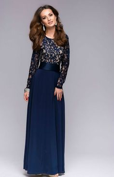 Ladies Night-Chic Blue Maxi Evening DressLace Top by FashionDress8
