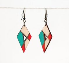 Turquoise & Red Diamond Shaped Hand Painted Laser Etched Wood Earrings | Wooden Jewelry | Southwest Inspired