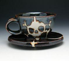 Skull Cup & Saucer Skull and Crossbones by NicolePangasCeramics