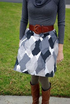 Love the full, belted skirt, and gray mixed with brown