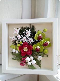 Здравствуйте дорогие мои друзья! Сегодня я хочу показать вам мою очередную работу, в которой использовала новые цветочки. Очень хотелось сделать яркую композицию, думаю, что мне это удалось Работа в рамке  IKEA 25х25, размер работы 23х23, для работы использованы корейские полоски 2 и 3мм  фото 3