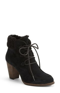 """Ghillie lace-keepers and a visible shearling collar give this stacked-heel bootie a nostalgic hiker vibe. Tonal materials maintain a svelte silhouette that""""s equally chic around the ski lodge or on the streets uptown. @Nordstrom"""