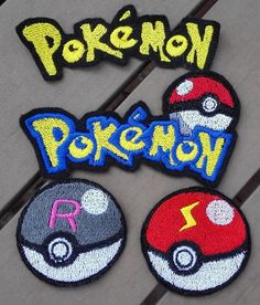 Pre-made pokemon patches ready to ship! The image is embroidered on sturdy felt for easy use. This patch pattern is self-made and ONLY available in my shop! You will receive an actual patch! Not the stitching pattern.  Measurements: Logos: 10,5 cm in length Pokeballs: 5,2 in diameter  A great gift for any Pokemon fan :) ~ All my embroideries are made with thoroughly tested patterns. I only use the best embroidery thread for my machine to ensure top quality results and durability. Rayon…