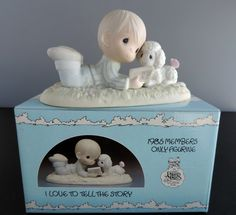 Vintage Precious Moments I Love To Tell The Story Figurine Members Only Limited Boy with Lamb, Bible and Butterfly by thelogchateau on Etsy Precious Moments Figurines, Beautiful Family, Toy Chest, Coloring Pages, Bible, Butterfly, Baby Shower, In This Moment, Blessed