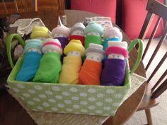 My basket of washcloth babies.