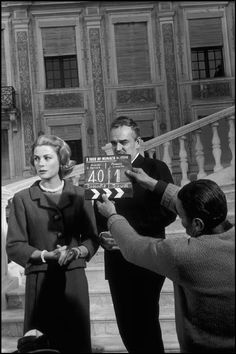 """The Prince and Princess filming """"A Tour of Monaco"""", in Palace courtyard"""
