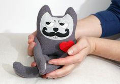 Zakochany mini Kot Wąsacz,Pluszowa Zabawka - ecotule - Zwierzeta i potwory