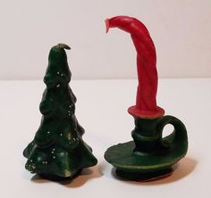 Vintage Gurley Candle Christmas Decoration Red Green Tree 1960s 60s Wax Pair Lot
