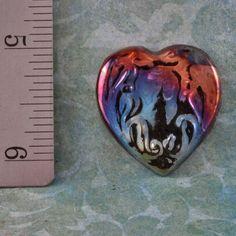 Handmade Raku Heart Pendant Cabochon by oscarcrow on Etsy, $6.00