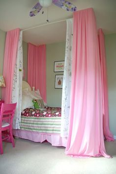 DIY bed curtain. Girl bedroom ideas. Turning a little girls dream of a 4 poster bed into reality without getting a new bed. The pink and green combination of the bedroom makes is feel dreamy and fresh. To see more visit- www.ourhousenowah...