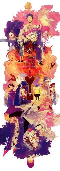 Dressrosa arc, Laws past and Donquixote Family - Trafalgar D. Water Law and his family (mother Father and sister Lami (Lammi, lammy, Lamy, Lamie),  Pica, Trebol, Vergo, Diamante, Jora, Lao G, Senor Pink, Dimante,  Machvise, Gladius,Buffalo, Baby 5, Dellinger, Donquixote Doflamingo, Homing and Rocinante (Corazon) (Corasan, Cora-san) One Piece