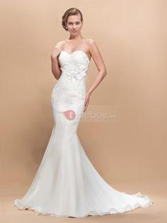 Amazing Court Train Flowers Sweetheart Trumpet Wedding Dress : Tidebuy.com