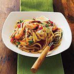 Roasted Red Pepper and Herb Pasta with Shrimp Recipe | MyRecipes.com