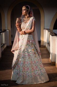 An Understated Beach Wedding With Sunset Pheras And A Bride Who Designed Her Own Lehenga Mehendi Outfits, Indian Bridal Outfits, Indian Dresses, Muslim Wedding Dresses, Bridal Dresses, Dresses Uk, Udaipur, Goa Wedding, Gothic Wedding