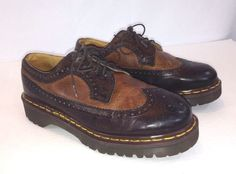 1141246a062 Dr Martens Mens Oxford Casual Brown Leather Wingtip Vintage England Size 6
