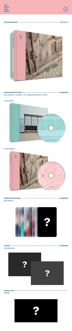 """BTS - WINGS : YOU NEVER WALK ALONE'//the only thing I don't like is the """"random"""" photo cards. I want all of them"""