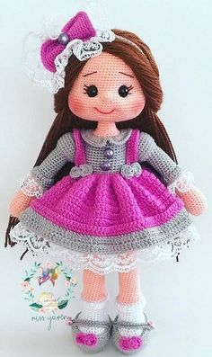 28 ideas for Amigurumi doll patterns. Crocheted doll with purple dress and long hair., 28 ideas for Amigurumi doll patterns. Crocheted doll with purple dress and long hair. Amigurumi Amigurumi 28 ideas for Amig Crochet Dolls Free Patterns, Doll Dress Patterns, Crochet Doll Pattern, Amigurumi Patterns, Amigurumi Doll, Crochet Doll Dress, Knitted Dolls, Doll Tutorial, Stuffed Animal Patterns