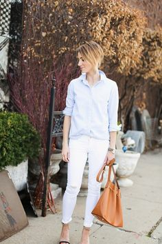ONE little MOMMA: A New Classic. Bucket bag, heels, oxford shirt, white jeans. So fresh for spring.
