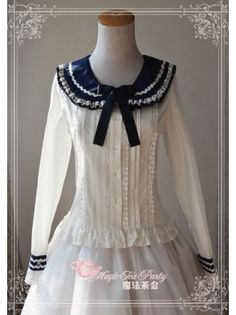 Magic Tea Party ~Navy Petal~ Sailor Style Long Sleeves Lolita Blouse