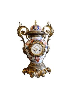 Louis XV Imari Porcelain Vase with Bronze Dore Garniture Mantel Clock, Circa 1880
