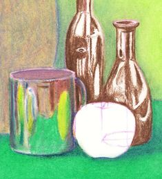 Steps for Oil Pastel Drawing At the bottom of the page are also slideshows for drawing and shading with pencil or soft pastels. Oil Pastel Drawings, Easy Drawings, Back To School Art Activity, Art Videos For Kids, Still Life Drawing, Poses, Art Reference, Studio, Oil Pastels