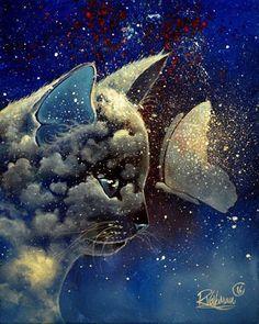 """ BUTTERFLY KISS "" Original painting by Raphaël Vavasseur  My art portal: www.raphaelvavasseur.com Original painting is available in Ebay and fine art print in Etsy  #Cat #Painting #Art #RaphaëlVavasseur #Original #New #Animal #Drawing #Illustration #Catart #Pet #Artwork #Artist #Katze #Gato #Gatto #Kot #猫 #قط #kedi #Picture #Peinture #고양이 #ArtistePeintre #Canvas #AcrylicPainting #Chat #FelineArt #Kat #GraphicDesign"