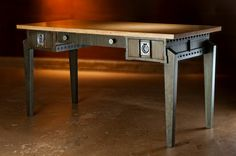 """Loose Cannon Office Desk.  Industrial Modern Style for the Home or Office. Overall Dimensions:   60"""" wide,  30"""" high, and 30"""" deep. Available from GriffinModern.com"""