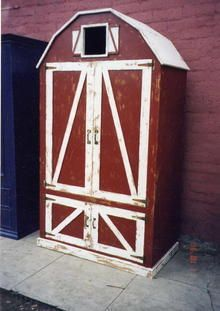 Barn Armoire to use in farm nursery.  Maybe with chalkboard paint on the inside of the doors.