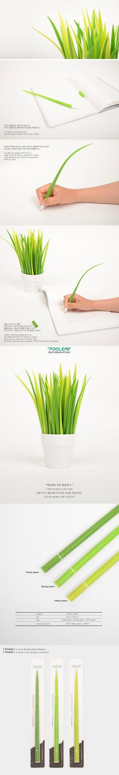 """Funny way to add some green to the office. Imagine the reaction when you say """"Let me grab a pen"""" and then reach for a blade of this grass."""