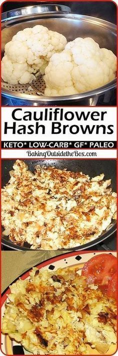 Low-Carb cauliflower hash. This cauliflower recipe is so good, so easy, and so low carb, that you will find them irresistible. Great for Atkins, keto, and other low carb diets. Paleo option too! Low Carb Diets, High Carb Foods, Ketogenic Recipes, Paleo Recipes, Low Carb Recipes, Cooking Recipes, Ketogenic Diet, Dessert Recipes, Donut Recipes