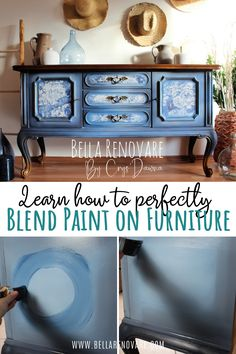 Learn How to Perfectly Blend Paint on Furniture! Bella Renovare DIY Furniture Painting Tutorials Learn How to Perfectly Blend Paint on Furniture! Bella Renovare DIY Furniture Painting Tutorials Bella Renovare By Crys'Dawna Blue Painted Furniture, Painted Buffet, Chalk Paint Furniture, Colorful Furniture, Diy Furniture Repair, Furniture Makeover, Furniture Ideas, Dresser Makeovers, Furniture Painting Techniques