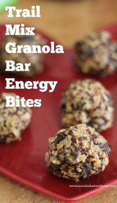 Trail Mix Granola Bar Energy Bites! They've got all the flavors you love- sweet and salty and make a great healthy snack!