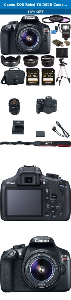 Canon EOS Rebel T6 DSLR Camera with 18-55mm Lens + Sony 16GB SDHC Card + Sony 32GB SDHC Card + 58mm Wide Angle Lens + Card Reader + Canon EOS Shoulder Bag 100ES + Tripod + Flash + Lens Hood Bundle. Greens Camera World is an AUTHORIZED CANON USA DEALER. Includes USA Manufacturer Warranty Comprising a versatile set of imaging capabilities along with support for a connected workflow, the EOS Rebel T6 from Canon is a compact, sleek DSLR featuring an 18MP APS-C CMOS sensor and a DIGIC 4+ image...