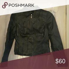 Black leather coat Real leather black coat. Super cute!!!! Negotiable Moda International Jackets & Coats