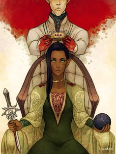 """Solas & Lavellan romance. I love that it resembles the """"two swords"""" tarot card which represents an impossible choice. It's very fitting for this romance."""