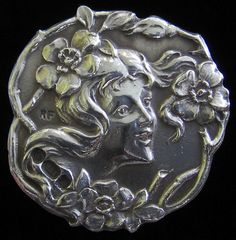 Art Nouveau Antique Solid Silver 1902 Hallmarked Stylised Lady Button Pendant Art Nouveau Costume