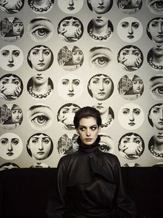 Anne Hathaway & a full wall designed by a fabulous italian artist: Fornasetti