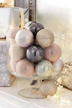 Buy Set Of 20 Champagne And Mauve Baubles from the Next UK online shop