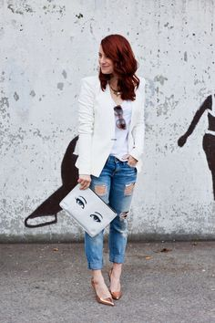 White Shirt, Blazer. Ripped Crop Jeans. Heels. Love the Bag.