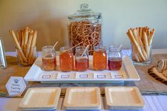 Cute idea. Honey Tasting Station for guests at Bumble Bee Themed Birthday Party.