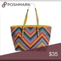98186347f8a Spring Premier Vegan Leather Shoulder Bag This is for a Spring Premier  yellow chevron print vegan leather shoulder bag. The dimensions are Very  nice quality ...